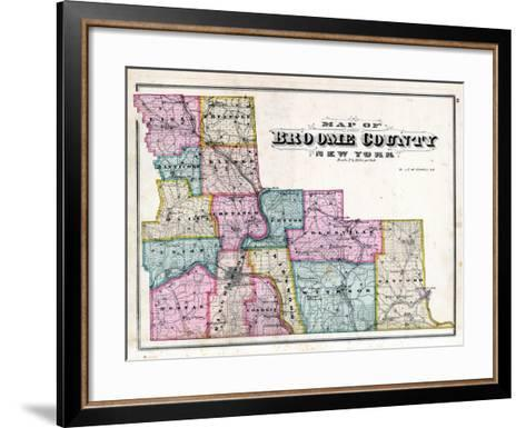 Broome County Map--Framed Art Print