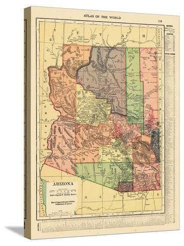 1914, Arizona State Map 1914, Arizona, United States--Stretched Canvas Print