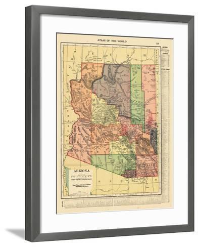 1914, Arizona State Map 1914, Arizona, United States--Framed Art Print