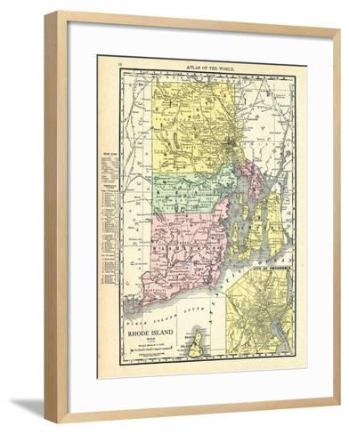 191x, Rhode Island State Map With Providence Inset, Rhode Island, United States--Framed Art Print