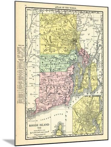 191x, Rhode Island State Map With Providence Inset, Rhode Island, United States--Mounted Giclee Print