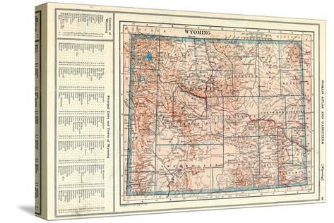 1917, Wyoming State Map, Wyoming, United States--Stretched Canvas Print