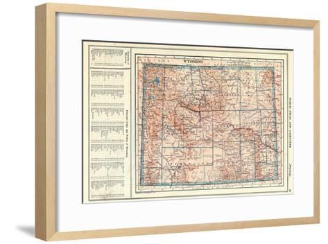 1917, Wyoming State Map, Wyoming, United States--Framed Art Print