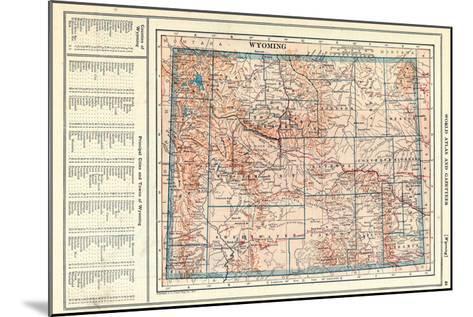 1917, Wyoming State Map, Wyoming, United States--Mounted Giclee Print