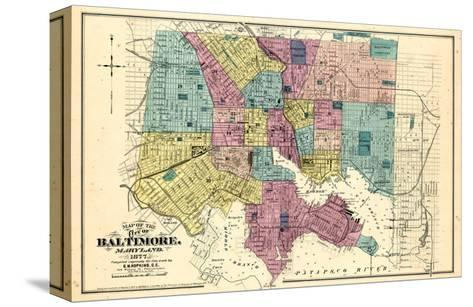 1877, Baltimore City Map 1877, Maryland, United States--Stretched Canvas Print