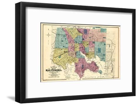 1877, Baltimore City Map 1877, Maryland, United States--Framed Art Print
