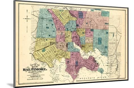 1877, Baltimore City Map 1877, Maryland, United States--Mounted Giclee Print