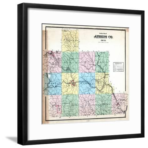 1875, Athens County Outline Map, Ohio, United States--Framed Art Print