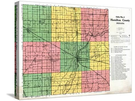 1922, Hamilton County Outline Map, Indiana, United States--Stretched Canvas Print