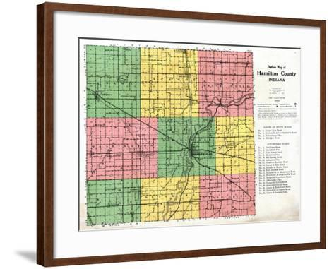 1922, Hamilton County Outline Map, Indiana, United States--Framed Art Print
