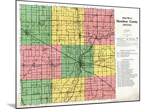 1922, Hamilton County Outline Map, Indiana, United States--Mounted Giclee Print