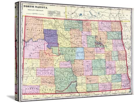 1911, North Dakota State Map, North Dakota, United States--Stretched Canvas Print