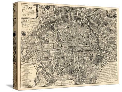 Paris, France, Vintage Map--Stretched Canvas Print