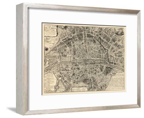 Paris, France, Vintage Map--Framed Art Print