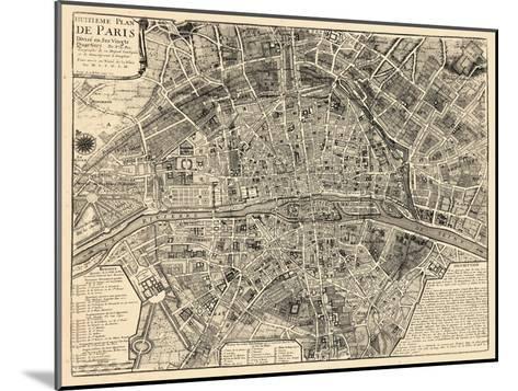 Paris, France, Vintage Map--Mounted Giclee Print