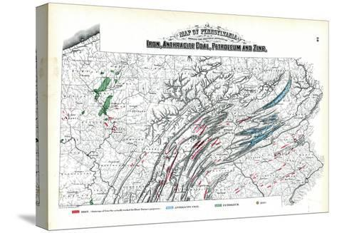 1872, Iron, Anthracite Coal, Petroleum and Zinc Map, Pennsylvania, United States--Stretched Canvas Print