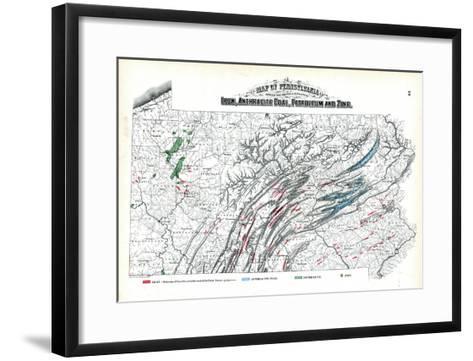 1872, Iron, Anthracite Coal, Petroleum and Zinc Map, Pennsylvania, United States--Framed Art Print