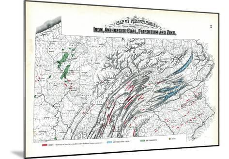 1872, Iron, Anthracite Coal, Petroleum and Zinc Map, Pennsylvania, United States--Mounted Giclee Print