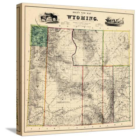 1883, Wyoming 1883 State Map, Wyoming, United States--Stretched Canvas Print