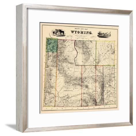 1883, Wyoming 1883 State Map, Wyoming, United States--Framed Art Print