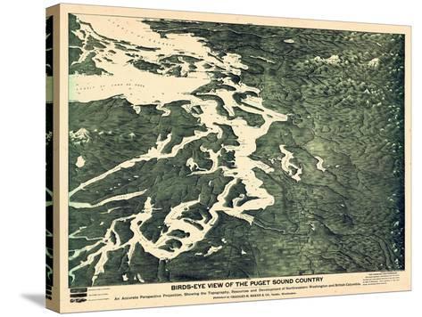 1891, Puget Sound Bird's Eye View, Washington, United States--Stretched Canvas Print