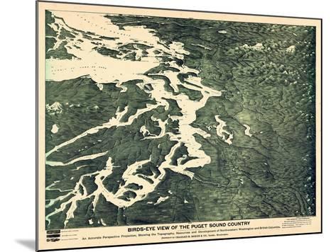 1891, Puget Sound Bird's Eye View, Washington, United States--Mounted Giclee Print