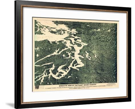 1891, Puget Sound Bird's Eye View, Washington, United States--Framed Art Print