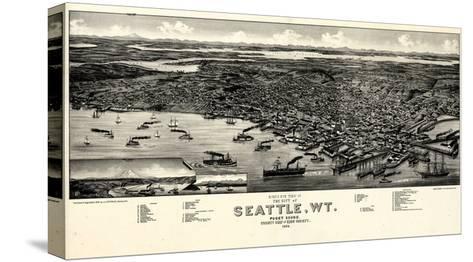 1884, Seattle Bird's Eye View, Washington, United States--Stretched Canvas Print