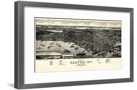 1884, Seattle Bird's Eye View, Washington, United States--Framed Art Print