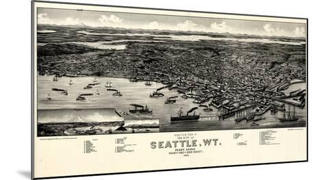 1884, Seattle Bird's Eye View, Washington, United States--Mounted Giclee Print