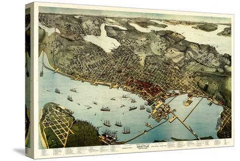 1891, Seattle Bird's Eye View, Washington, United States--Stretched Canvas Print