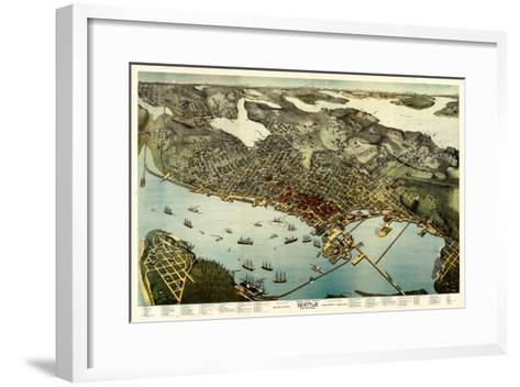 1891, Seattle Bird's Eye View, Washington, United States--Framed Art Print