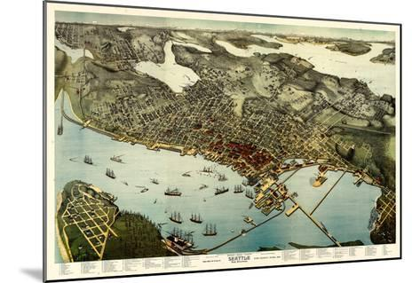 1891, Seattle Bird's Eye View, Washington, United States--Mounted Giclee Print