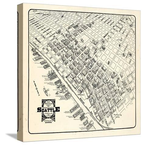 1904, Seattle Bird's Eye View of Business District, Washington, United States--Stretched Canvas Print