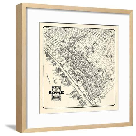 1904, Seattle Bird's Eye View of Business District, Washington, United States--Framed Art Print