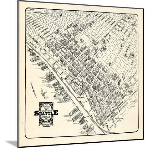 1904, Seattle Bird's Eye View of Business District, Washington, United States--Mounted Giclee Print