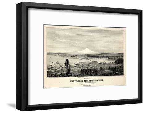 1878, Tacoma and Mount Rainier Bird's Eye View, Washington, United States--Framed Art Print