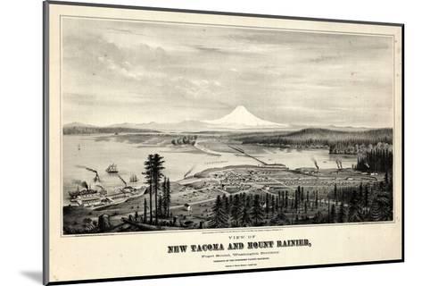 1878, Tacoma and Mount Rainier Bird's Eye View, Washington, United States--Mounted Giclee Print