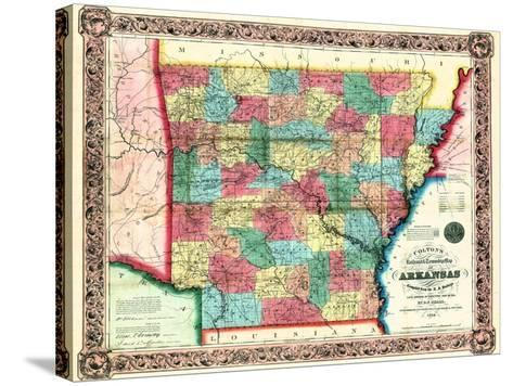 1854, Arkansas State Map, Arkansas, United States--Stretched Canvas Print