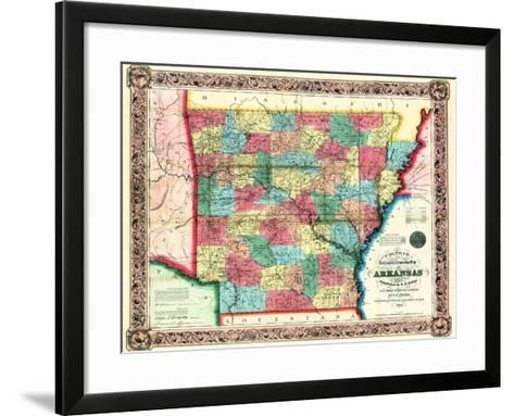 1854, Arkansas State Map, Arkansas, United States--Framed Art Print