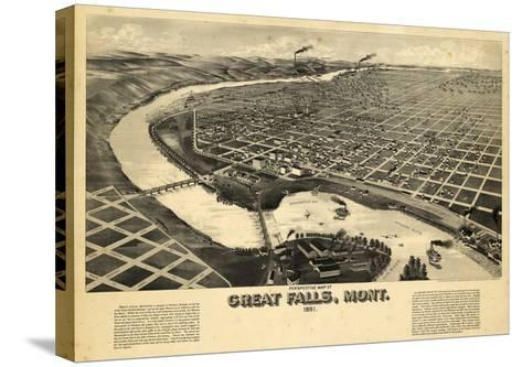 1891, Great Falls Bird's Eye View, Montana, United States--Stretched Canvas Print