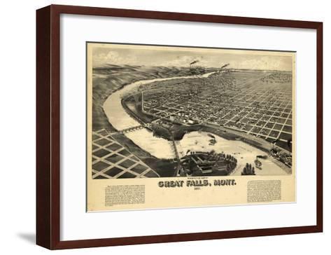1891, Great Falls Bird's Eye View, Montana, United States--Framed Art Print