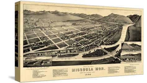 1884, Missoula Bird's Eye View, Montana, United States--Stretched Canvas Print