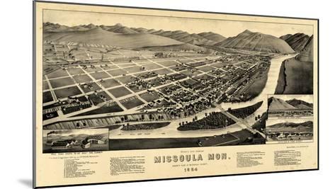 1884, Missoula Bird's Eye View, Montana, United States--Mounted Giclee Print