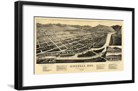 1884, Missoula Bird's Eye View, Montana, United States--Framed Art Print