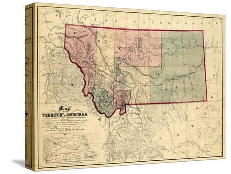 1865, Montana Wall Map, Montana, United States--Stretched Canvas Print