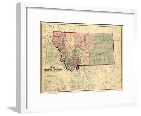 1865, Montana Wall Map, Montana, United States--Framed Art Print
