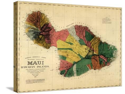1885, Maui Island Map, Hawaii, United States--Stretched Canvas Print