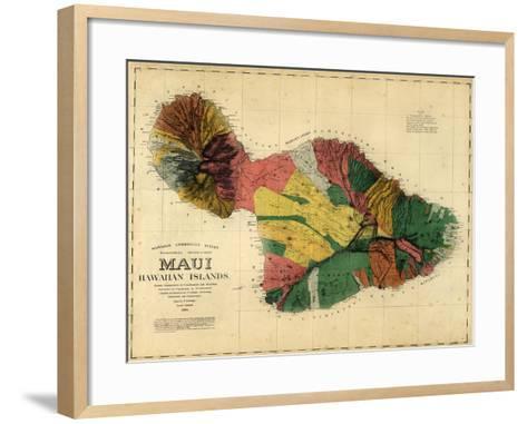 1885, Maui Island Map, Hawaii, United States--Framed Art Print