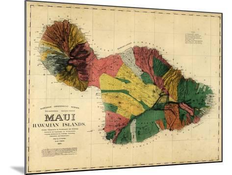 1885, Maui Island Map, Hawaii, United States--Mounted Giclee Print